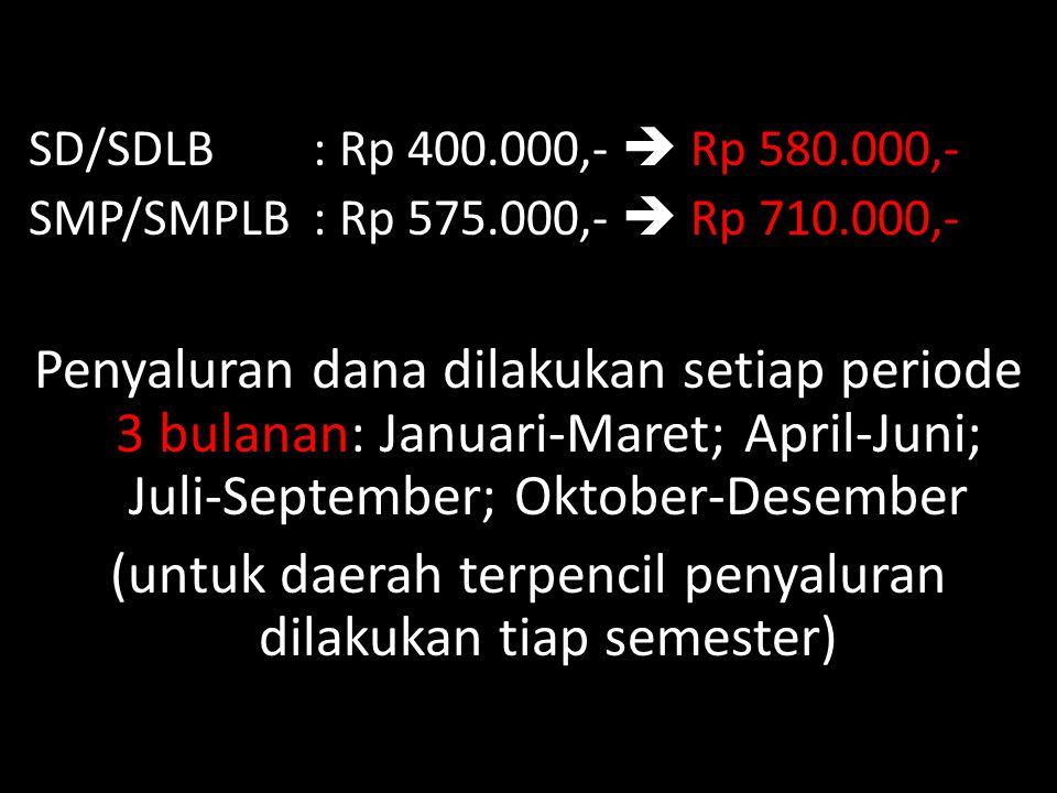 SD/SDLB : Rp 400.000,-  Rp 580.000,- SMP/SMPLB : Rp 575.000,-  Rp 710.000,- Penyaluran dana dilakukan setiap periode 3 bulanan: Januari-Maret; April
