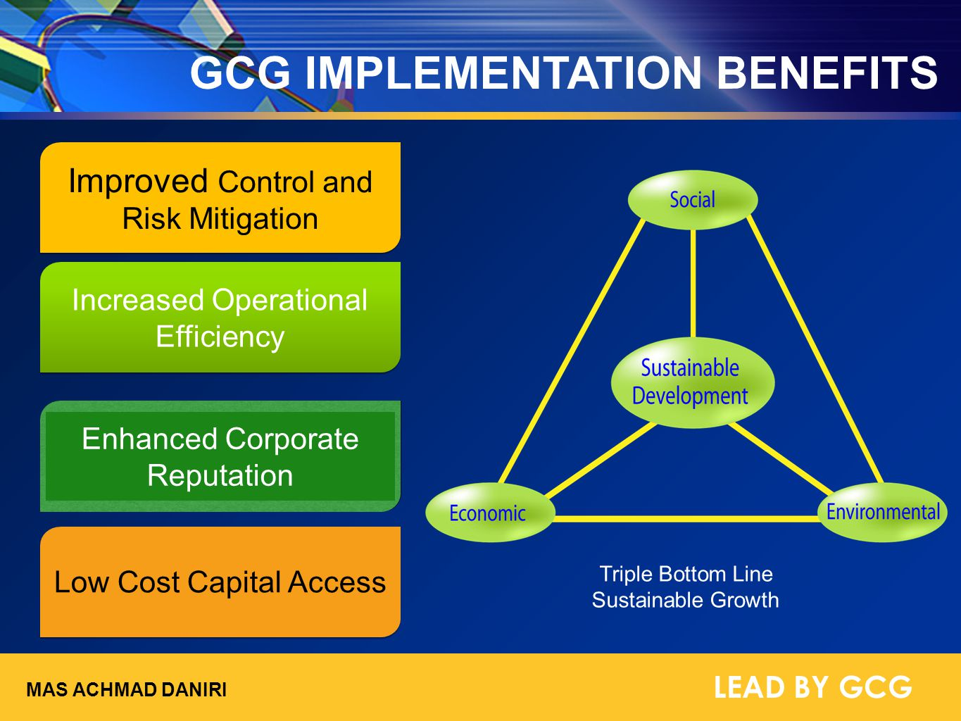 GCG IMPLEMENTATION BENEFITS Improved Control and Risk Mitigation Low Cost Capital Access Increased Operational Efficiency Enhanced Corporate Reputatio