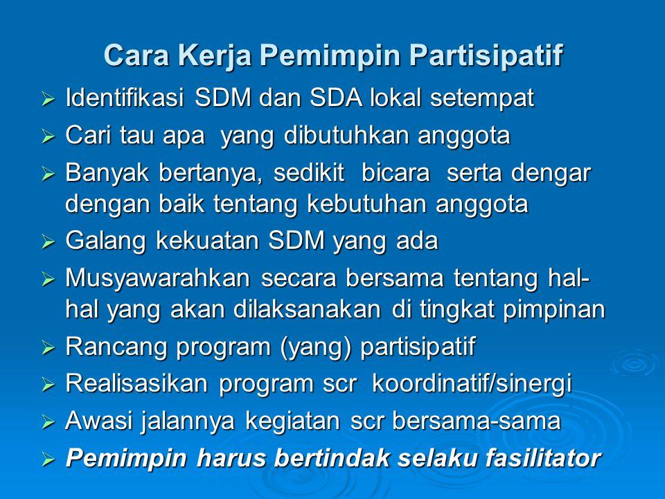 Cara Kerja Pemimpin Partisipatif  Identifikasi SDM dan SDA lokal setempat  Cari tau apa yang dibutuhkan anggota  Banyak bertanya, sedikit bicara se