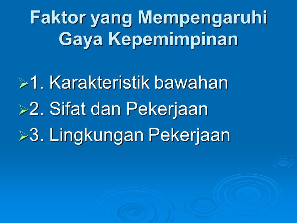 Faktor yang Mempengaruhi Gaya Kepemimpinan  1. Karakteristik bawahan  2. Sifat dan Pekerjaan  3. Lingkungan Pekerjaan