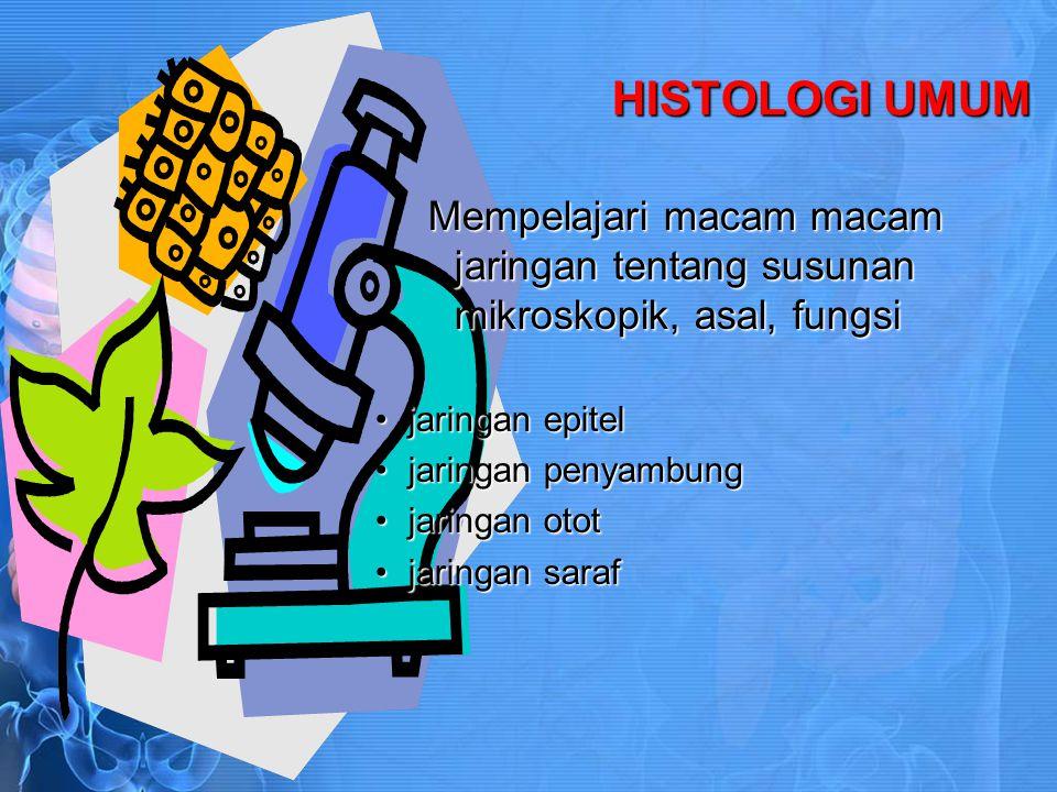 HISTOLOGI KHUSUS Mempelajari organ organ tubuh Sistem kardiovaskuler, getah bening,darahSistem kardiovaskuler, getah bening,darah Sistem limfoidSistem limfoid Sistem percernaan makananSistem percernaan makanan Sistem pernafasanSistem pernafasan Kelenjar endokrinKelenjar endokrin Sistem uropoetikumSistem uropoetikum Sistem kelamin pria dan wanitaSistem kelamin pria dan wanita Kulit dan derivatnyaKulit dan derivatnya PancaindraPancaindra