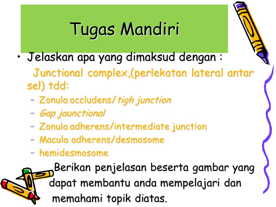 Tugas Mandiri Jelaskan apa yang dimaksud dengan :Jelaskan apa yang dimaksud dengan : Junctional complex,(perlekatan lateral antar sel) tdd: Junctional complex,(perlekatan lateral antar sel) tdd: –Zonula occludens/tigh junction –Gap jaunctional –Zonula adherens/intermediate junction –Macula adherens/desmosome –hemidesmosome Berikan penjelasan beserta gambar yang Berikan penjelasan beserta gambar yang dapat membantu anda mempelajari dan dapat membantu anda mempelajari dan memahami topik diatas.