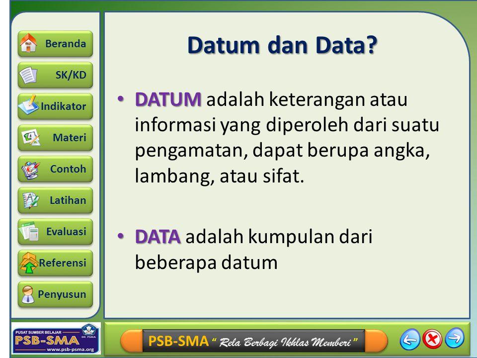 """SK/KD Indikator Materi Beranda Contoh Latihan Referensi Evaluasi Penyusun PSB-SMA """" Rela Berbagi Ikhlas Memberi """" Datum dan Data? DATUM adalah keteran"""