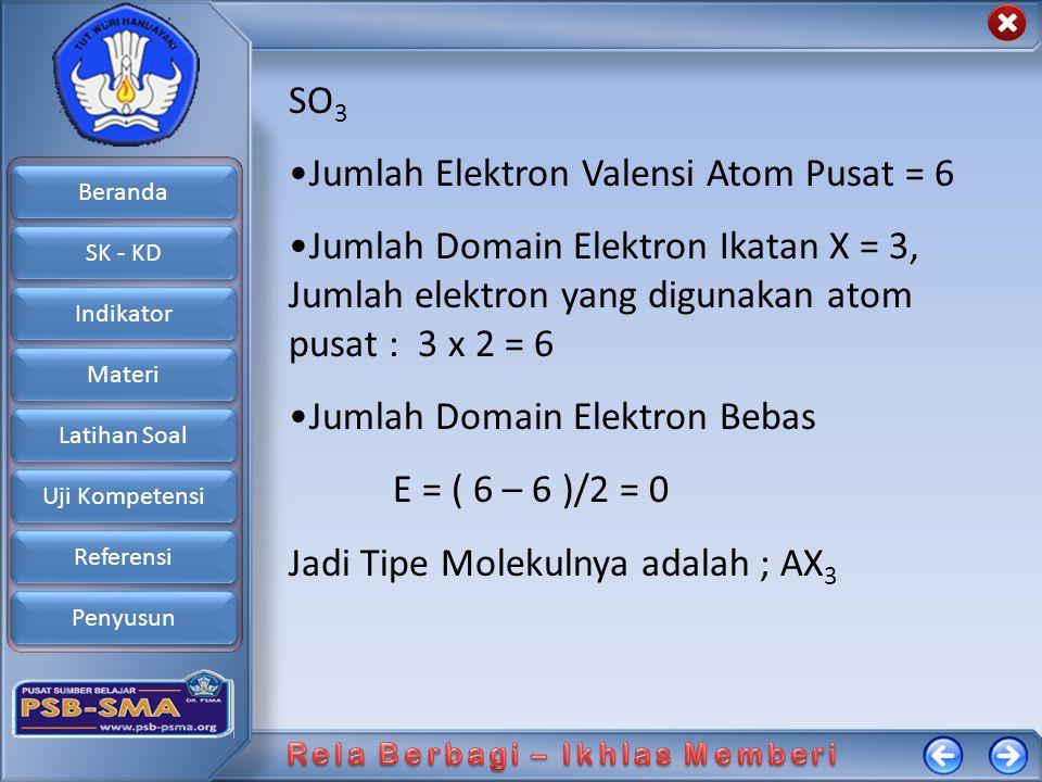 Beranda SK - KD Indikator Materi Latihan Soal Uji Kompetensi Referensi Penyusun SO 3 Jumlah Elektron Valensi Atom Pusat = 6 Jumlah Domain Elektron Ika