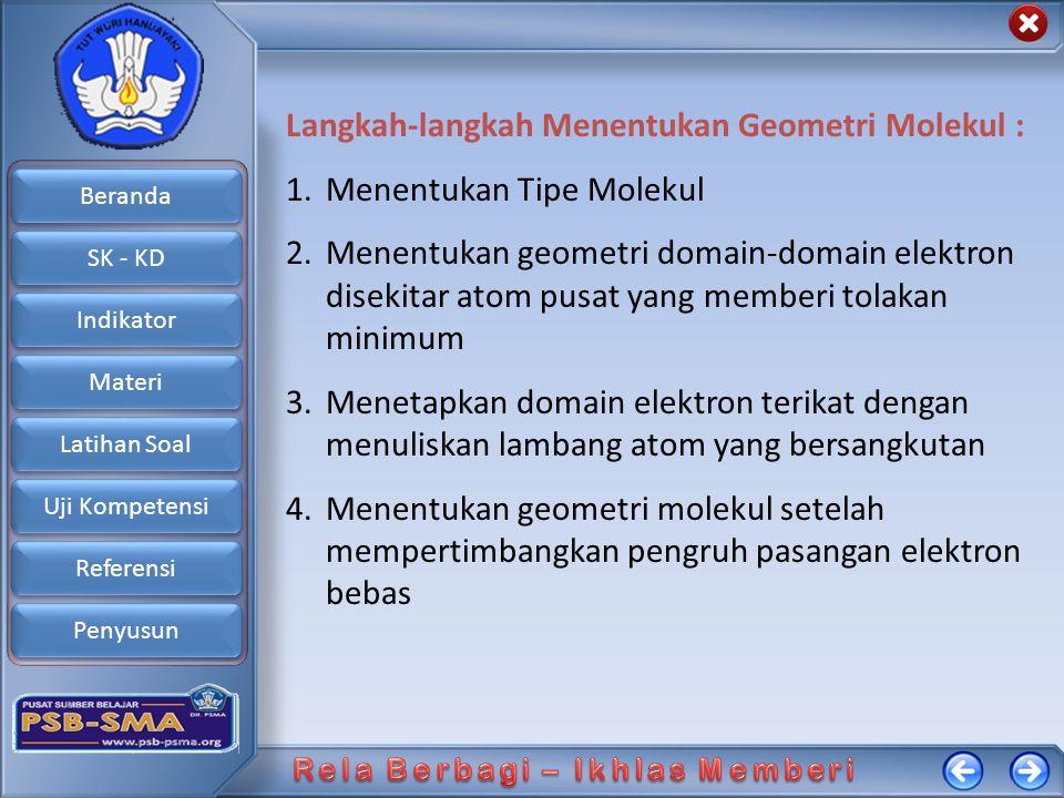 Beranda SK - KD Indikator Materi Latihan Soal Uji Kompetensi Referensi Penyusun Langkah-langkah Menentukan Geometri Molekul : 1.Menentukan Tipe Moleku