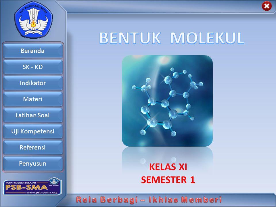 Beranda SK - KD Indikator Materi Latihan Soal Uji Kompetensi Referensi Penyusun Langkah-langkah Menentukan Geometri Molekul : 1.Menentukan Tipe Molekul 2.Menentukan geometri domain-domain elektron disekitar atom pusat yang memberi tolakan minimum 3.Menetapkan domain elektron terikat dengan menuliskan lambang atom yang bersangkutan 4.Menentukan geometri molekul setelah mempertimbangkan pengruh pasangan elektron bebas