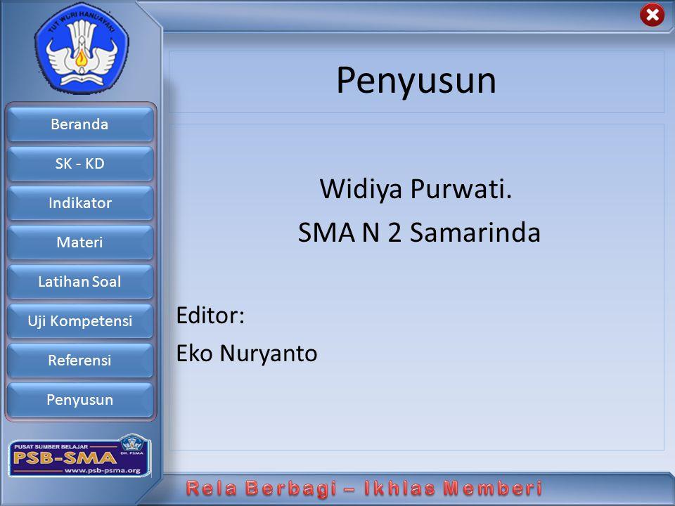 Beranda SK - KD Indikator Materi Latihan Soal Uji Kompetensi Referensi Penyusun Widiya Purwati. SMA N 2 Samarinda Editor: Eko Nuryanto