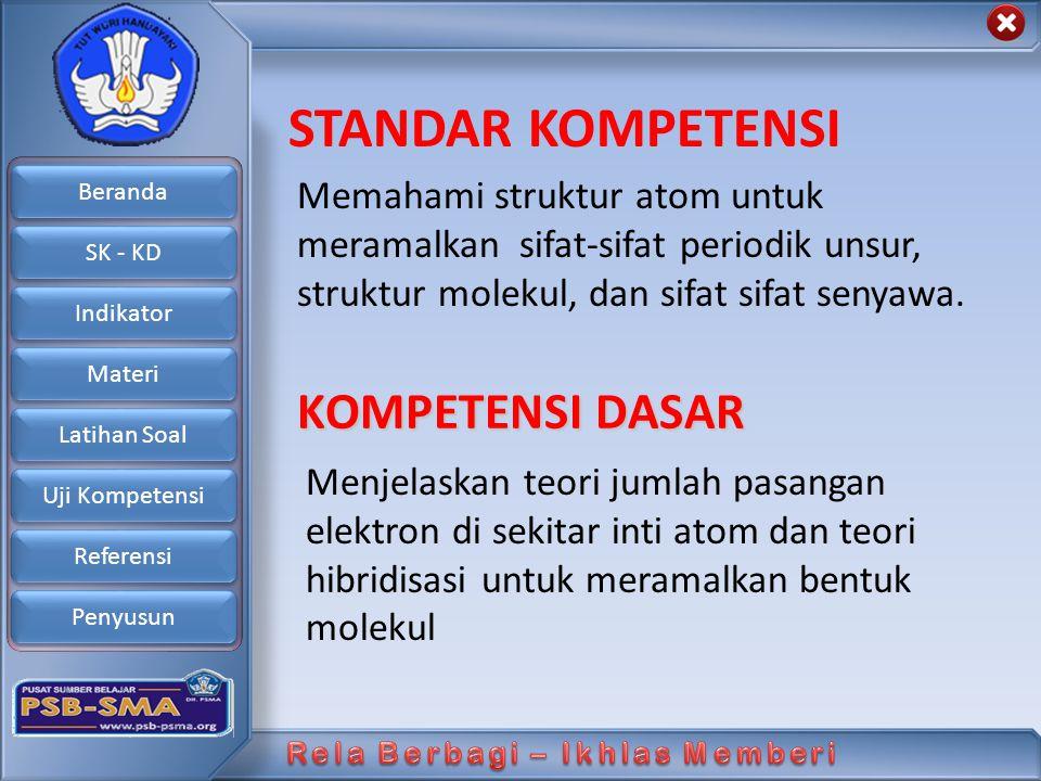 Beranda SK - KD Indikator Materi Latihan Soal Uji Kompetensi Referensi Penyusun Prakiraan Bentuk Molekul: