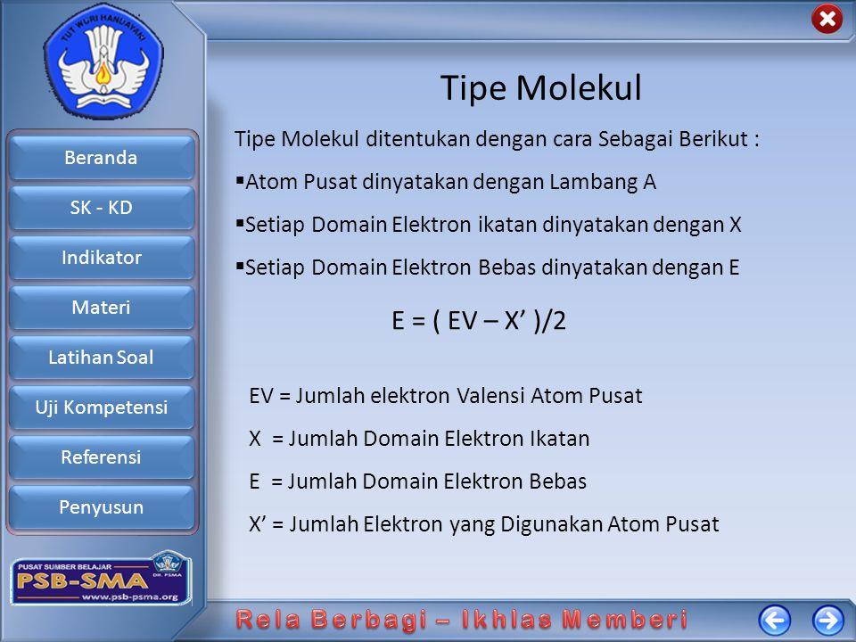Beranda SK - KD Indikator Materi Latihan Soal Uji Kompetensi Referensi Penyusun Tipe Molekul Tipe Molekul ditentukan dengan cara Sebagai Berikut :  A