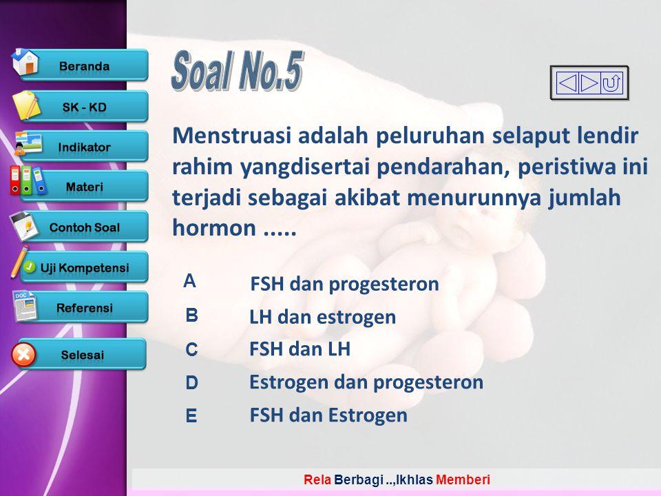 Rela Berbagi..,Ikhlas Memberi A B C D E Menstruasi adalah peluruhan selaput lendir rahim yangdisertai pendarahan, peristiwa ini terjadi sebagai akibat