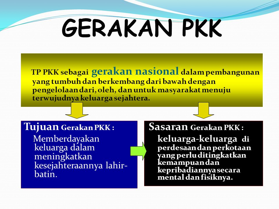 GERAKAN PKK TP PKK sebagai gerakan nasional dalam pembangunan yang tumbuh dan berkembang dari bawah dengan pengelolaan dari, oleh, dan untuk masyaraka