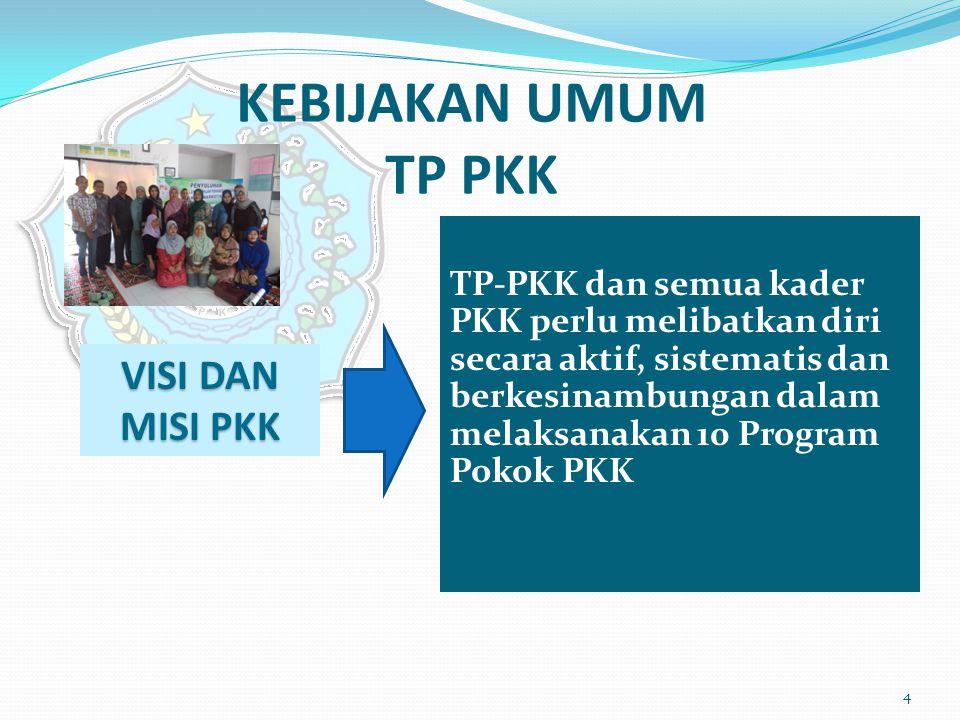 KEBIJAKAN UMUM TP PKK TP-PKK dan semua kader PKK perlu melibatkan diri secara aktif, sistematis dan berkesinambungan dalam melaksanakan 10 Program Pok