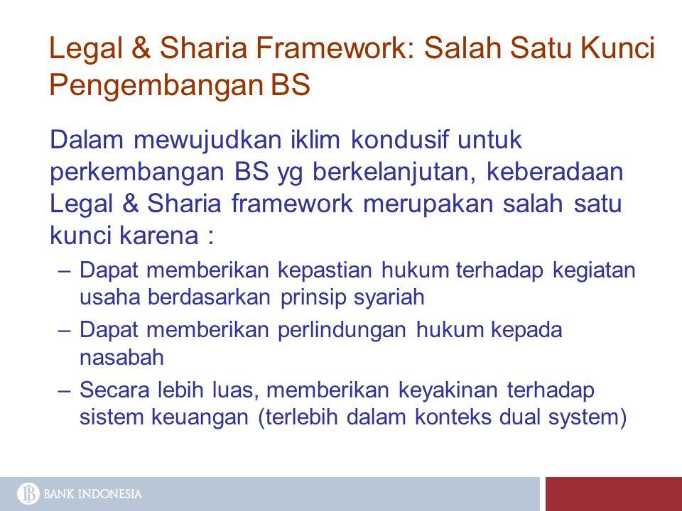 Dalam mewujudkan iklim kondusif untuk perkembangan BS yg berkelanjutan, keberadaan Legal & Sharia framework merupakan salah satu kunci karena : –Dapat