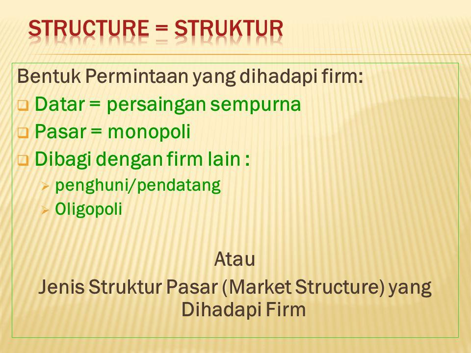 Bentuk Permintaan yang dihadapi firm:  Datar = persaingan sempurna  Pasar = monopoli  Dibagi dengan firm lain :  penghuni/pendatang  Oligopoli At