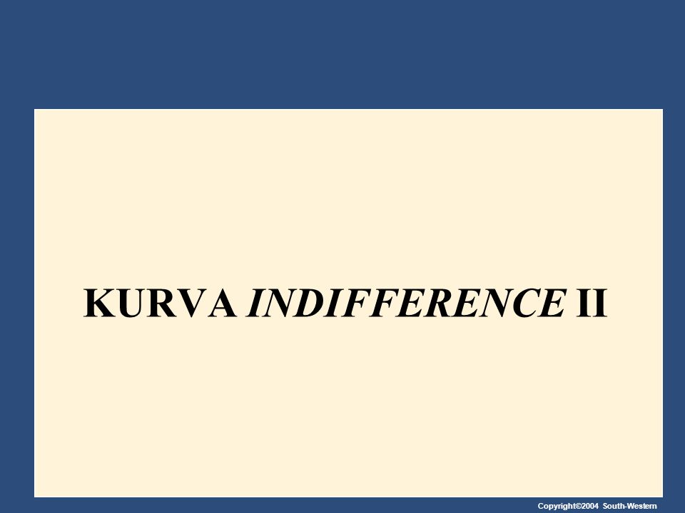 Copyright©2004 South-Western KURVA INDIFFERENCE II