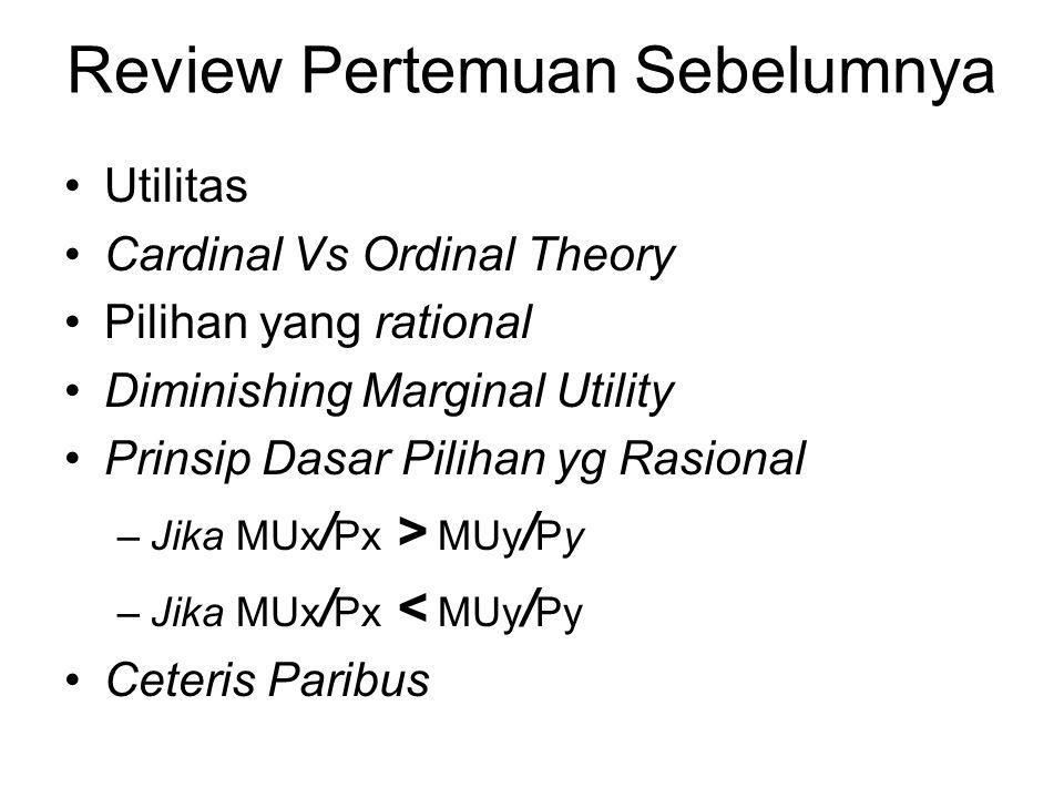 Review Pertemuan Sebelumnya Utilitas Cardinal Vs Ordinal Theory Pilihan yang rational Diminishing Marginal Utility Prinsip Dasar Pilihan yg Rasional –
