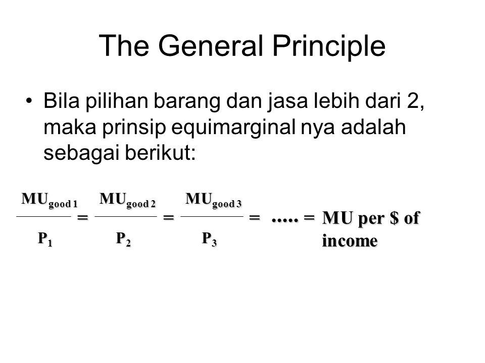 The General Principle Bila pilihan barang dan jasa lebih dari 2, maka prinsip equimarginal nya adalah sebagai berikut: MU good 1 P1P1P1P1 = MU good 2
