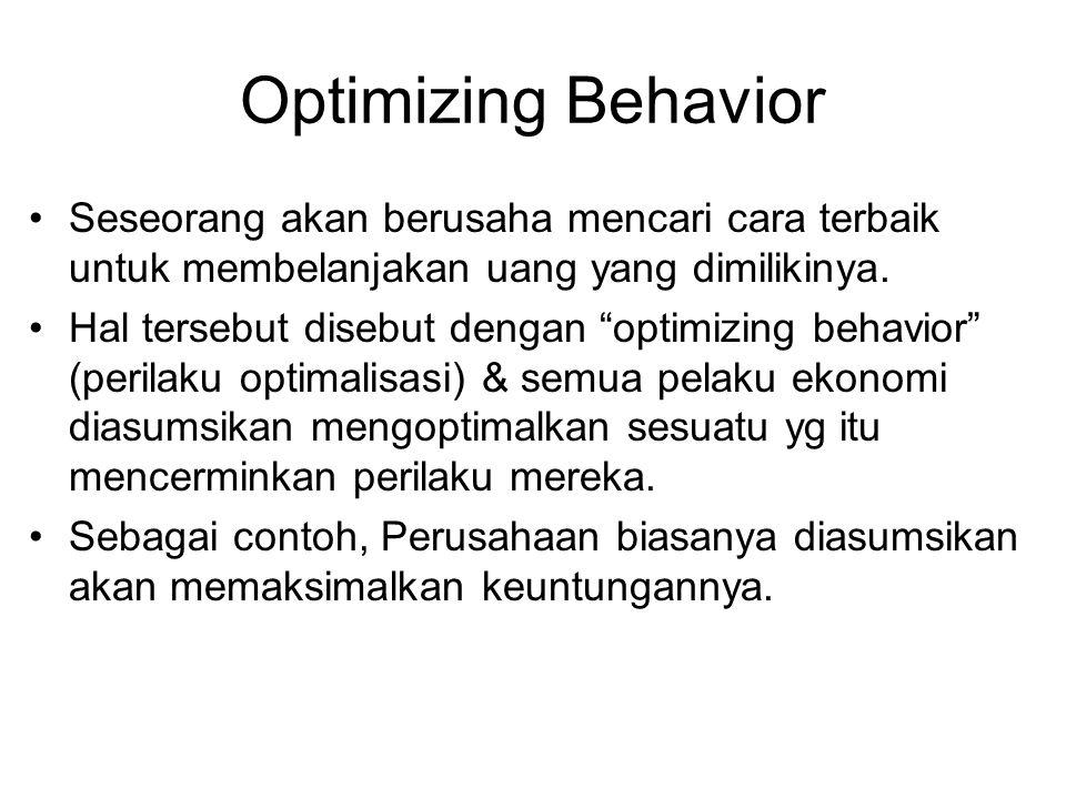 """Optimizing Behavior Seseorang akan berusaha mencari cara terbaik untuk membelanjakan uang yang dimilikinya. Hal tersebut disebut dengan """"optimizing be"""