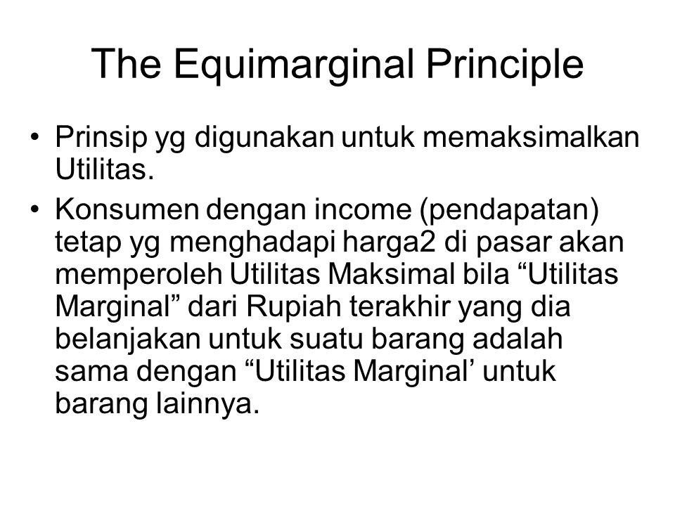 The Equimarginal Principle Prinsip yg digunakan untuk memaksimalkan Utilitas. Konsumen dengan income (pendapatan) tetap yg menghadapi harga2 di pasar