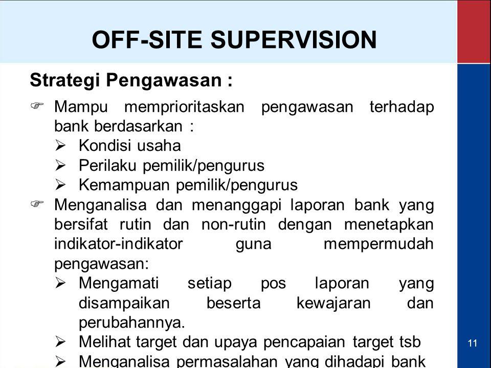 11  Mampu memprioritaskan pengawasan terhadap bank berdasarkan :  Kondisi usaha  Perilaku pemilik/pengurus  Kemampuan pemilik/pengurus OFF-SITE SU