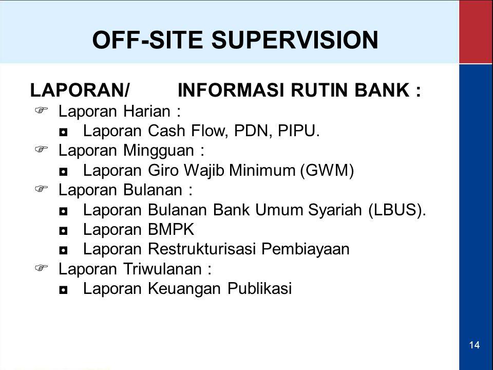 14 LAPORAN/INFORMASI RUTIN BANK :  Laporan Harian : ◘Laporan Cash Flow, PDN, PIPU.  Laporan Mingguan : ◘Laporan Giro Wajib Minimum (GWM)  Laporan B