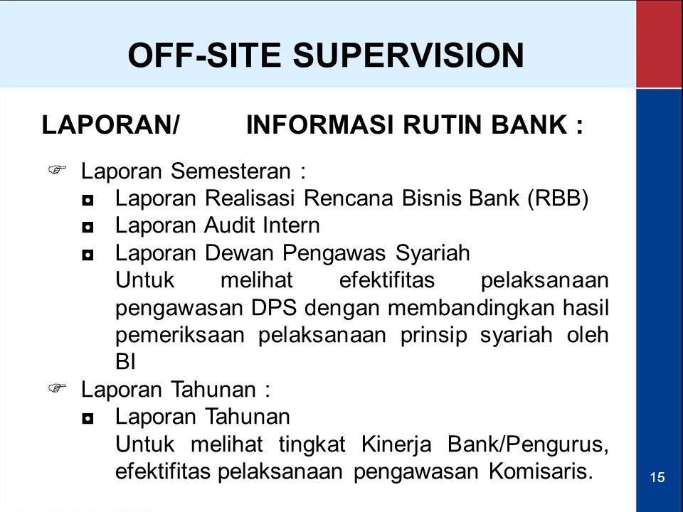 15 LAPORAN/INFORMASI RUTIN BANK :  Laporan Semesteran : ◘Laporan Realisasi Rencana Bisnis Bank (RBB) ◘Laporan Audit Intern ◘Laporan Dewan Pengawas Sy