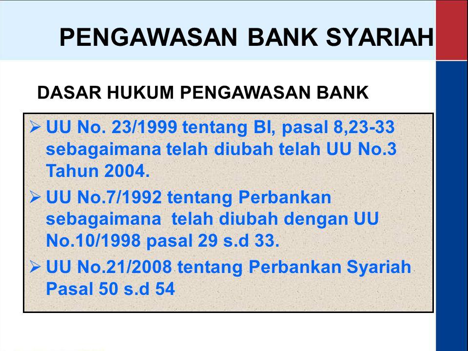PENGAWASAN BANK SYARIAH Secara garis besar, pengawasan yang dilakukan terhadap bank syariah, adalah:  pengawasan sebagaimana yang dilakukan terhadap bank konvensional (prudential principles)  penilaian kepatuhan bank terhadap penerapan prinsip syariah dalam operasionalnya (sharia compliance).