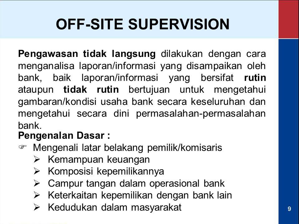9 Pengawasan tidak langsung dilakukan dengan cara menganalisa laporan/informasi yang disampaikan oleh bank, baik laporan/informasi yang bersifat rutin