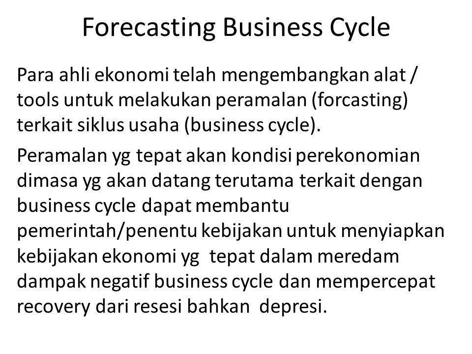 Forecasting Business Cycle Para ahli ekonomi telah mengembangkan alat / tools untuk melakukan peramalan (forcasting) terkait siklus usaha (business cy