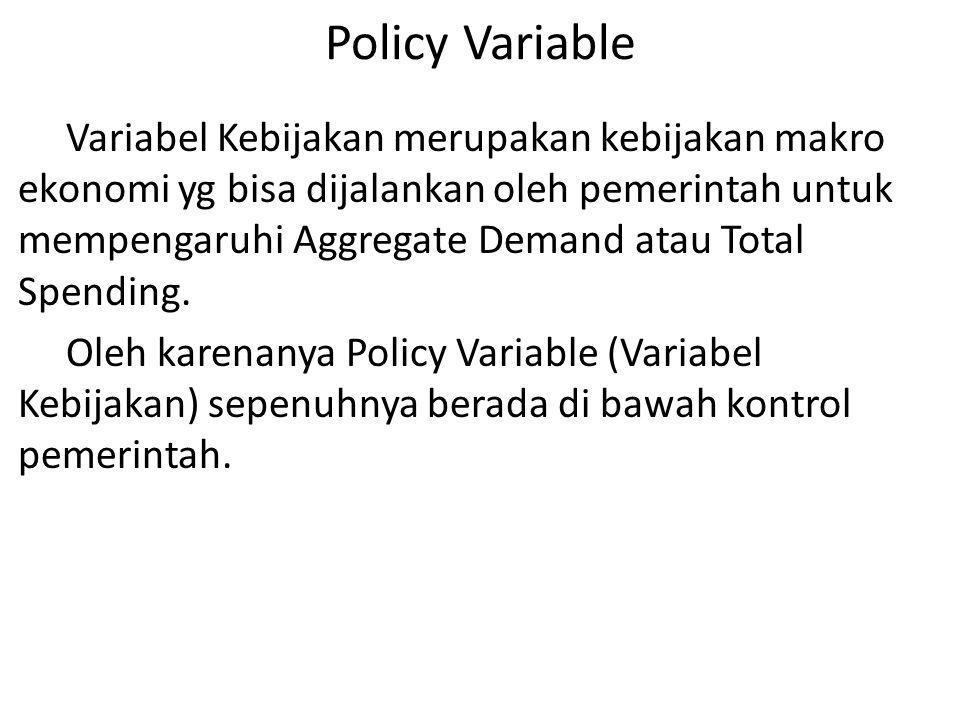 Policy Variable Variabel Kebijakan merupakan kebijakan makro ekonomi yg bisa dijalankan oleh pemerintah untuk mempengaruhi Aggregate Demand atau Total
