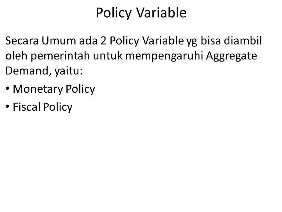 Policy Variable Secara Umum ada 2 Policy Variable yg bisa diambil oleh pemerintah untuk mempengaruhi Aggregate Demand, yaitu: Monetary Policy Fiscal P