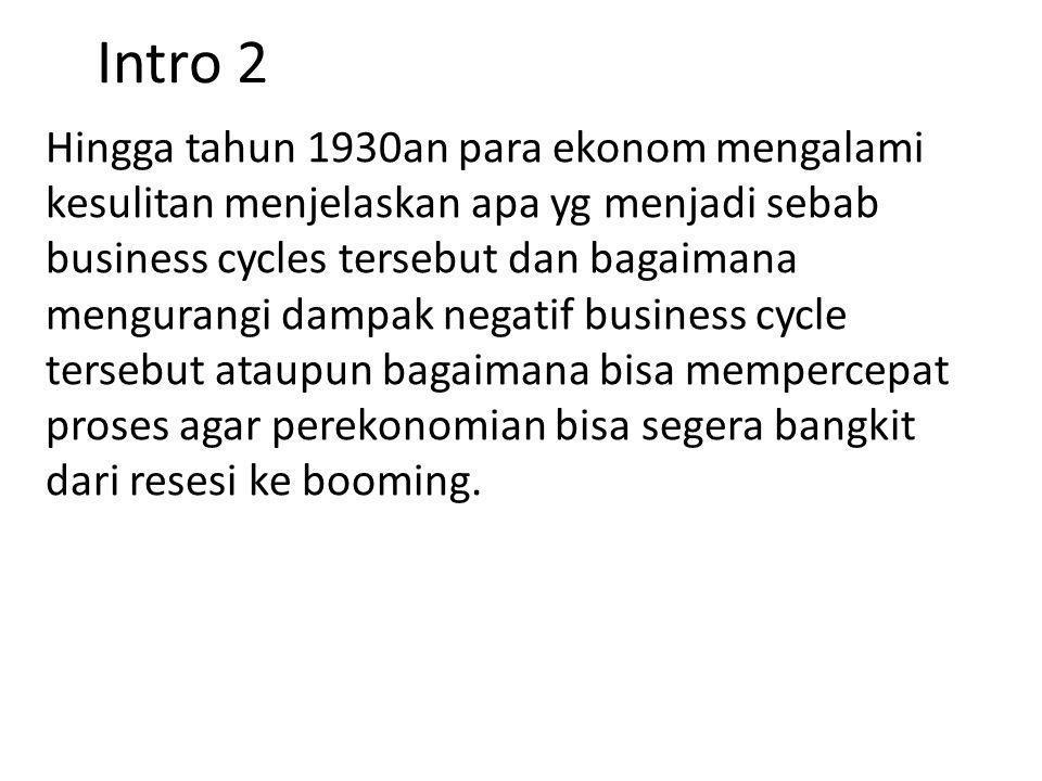 Teori 2 Siklus Bisnis Secara umum ada beberapa pendapat mengenai sumber business cycle tetapi secara umum ada 3 teori utama penyebab business cycle: 1.Exogenous 2.Internal Cycle 3.Demand-Induced Cycle