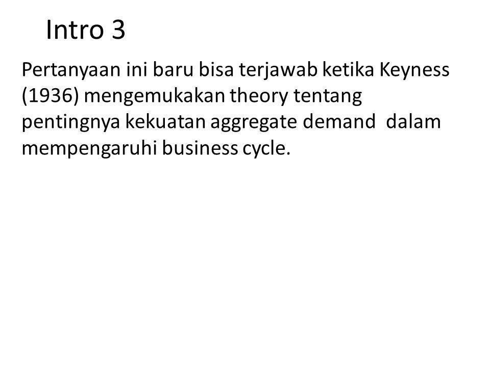 Intro 3 Pertanyaan ini baru bisa terjawab ketika Keyness (1936) mengemukakan theory tentang pentingnya kekuatan aggregate demand dalam mempengaruhi bu