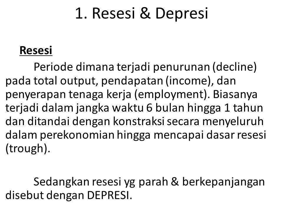 1. Resesi & Depresi Resesi Periode dimana terjadi penurunan (decline) pada total output, pendapatan (income), dan penyerapan tenaga kerja (employment)