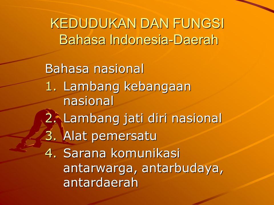 KEDUDUKAN DAN FUNGSI Bahasa Indonesia-Daerah Bahasa nasional 1.Lambang kebangaan nasional 2.Lambang jati diri nasional 3.Alat pemersatu 4.Sarana komun