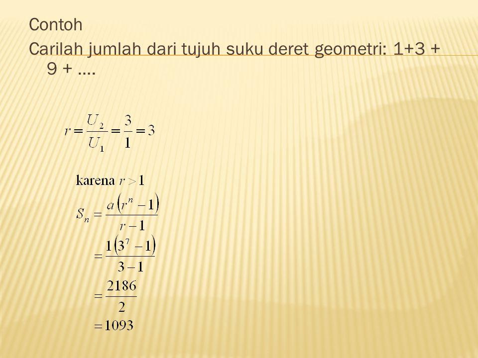 Contoh Carilah jumlah dari tujuh suku deret geometri: 1+3 + 9 + ….