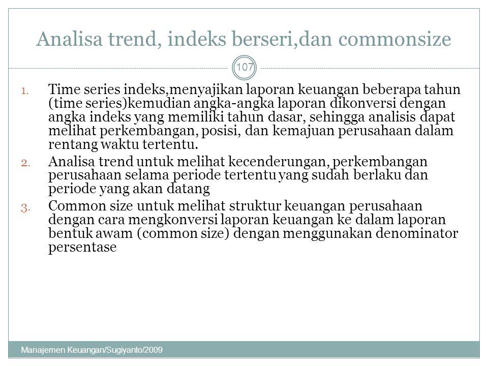 Analisa trend, indeks berseri,dan commonsize 1. Time series indeks,menyajikan laporan keuangan beberapa tahun (time series)kemudian angka-angka lapora