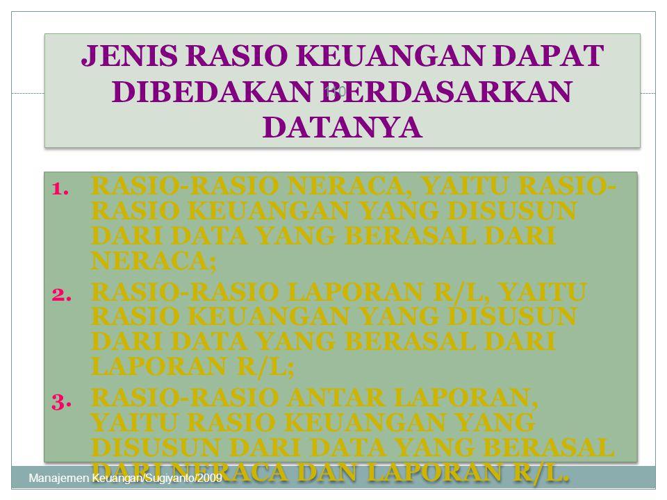 JENIS RASIO KEUANGAN DAPAT DIBEDAKAN BERDASARKAN DATANYA 1. RASIO-RASIO NERACA, YAITU RASIO- RASIO KEUANGAN YANG DISUSUN DARI DATA YANG BERASAL DARI N