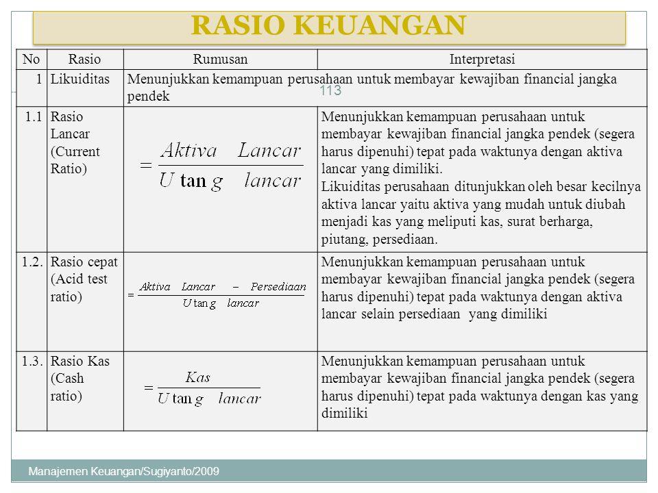 RASIO KEUANGAN NoRasioRumusanInterpretasi 1LikuiditasMenunjukkan kemampuan perusahaan untuk membayar kewajiban financial jangka pendek 1.1Rasio Lancar