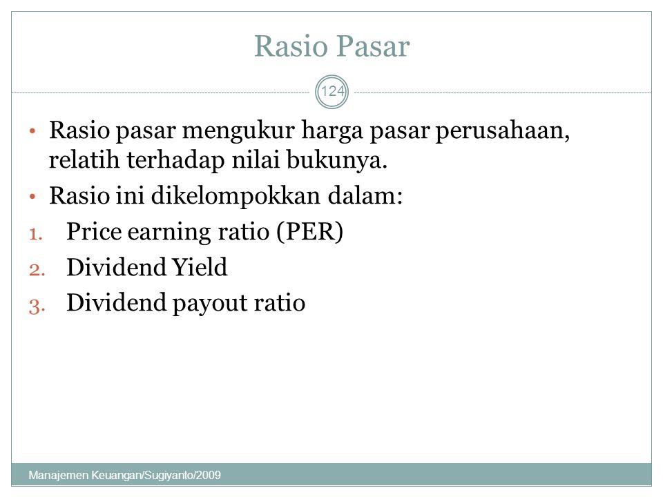 Rasio Pasar Rasio pasar mengukur harga pasar perusahaan, relatih terhadap nilai bukunya. Rasio ini dikelompokkan dalam: 1. Price earning ratio (PER) 2