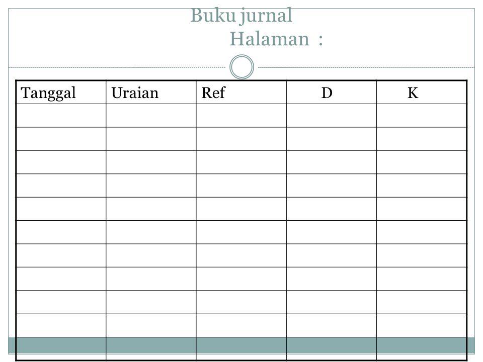 Buku jurnal Halaman : TanggalUraianRef D K
