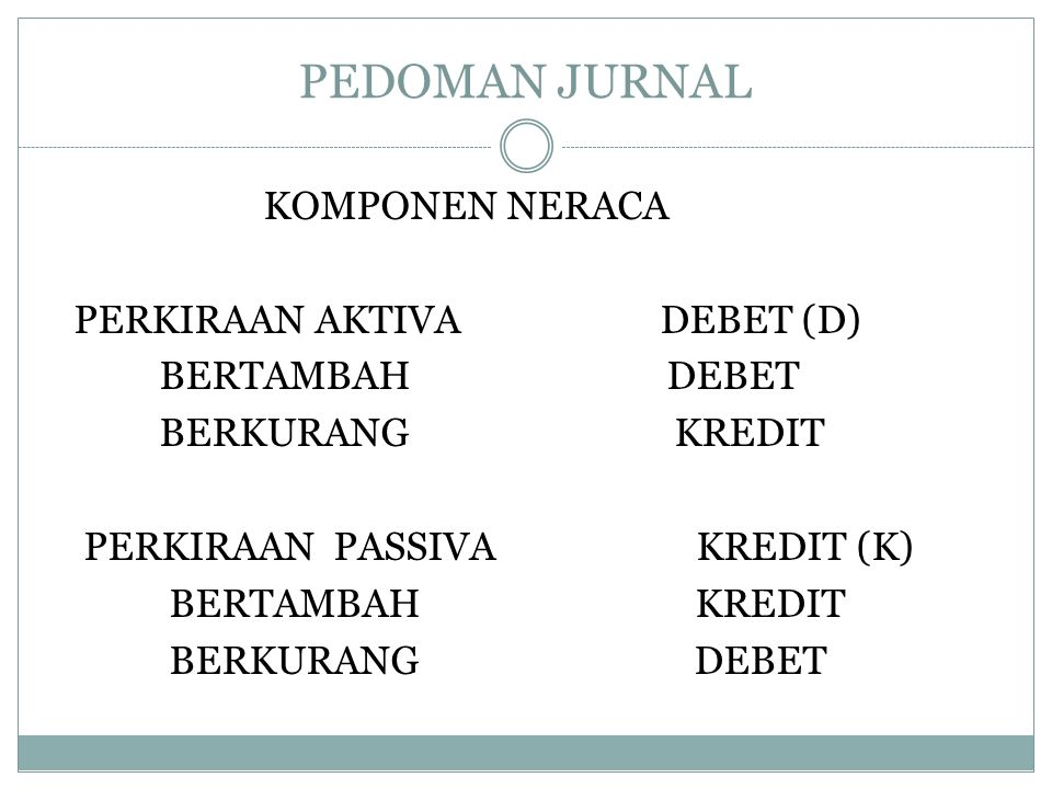 PEDOMAN JURNAL KOMPONEN NERACA PERKIRAAN AKTIVA DEBET (D) BERTAMBAH DEBET BERKURANG KREDIT PERKIRAAN PASSIVA KREDIT (K) BERTAMBAH KREDIT BERKURANG DEB