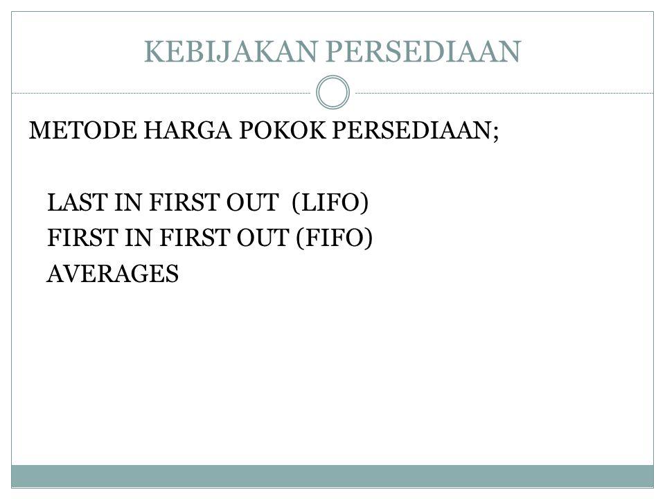 KEBIJAKAN PERSEDIAAN METODE HARGA POKOK PERSEDIAAN; LAST IN FIRST OUT (LIFO) FIRST IN FIRST OUT (FIFO) AVERAGES