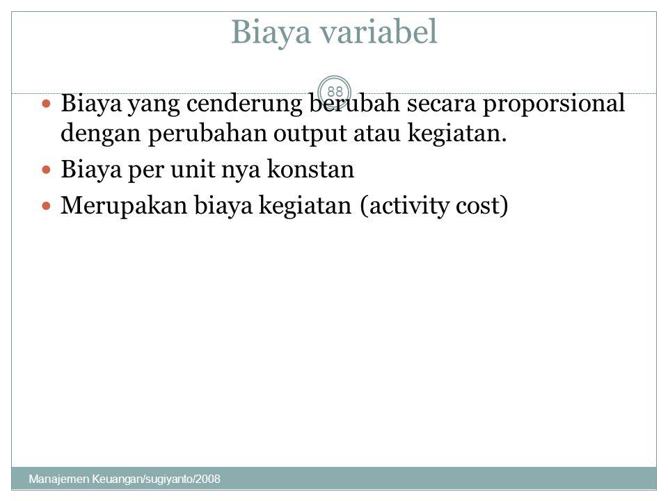 Biaya variabel Biaya yang cenderung berubah secara proporsional dengan perubahan output atau kegiatan. Biaya per unit nya konstan Merupakan biaya kegi