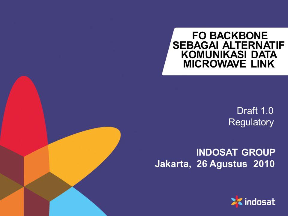 FO BACKBONE SEBAGAI ALTERNATIF KOMUNIKASI DATA MICROWAVE LINK Draft 1.0 Regulatory INDOSAT GROUP Jakarta, 26 Agustus 2010