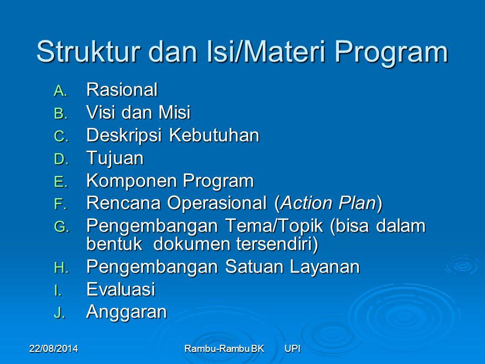 22/08/2014Rambu-Rambu BK UPI Struktur dan Isi/Materi Program A. Rasional B. Visi dan Misi C. Deskripsi Kebutuhan D. Tujuan E. Komponen Program F. Renc