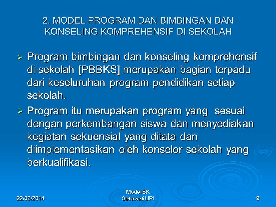22/08/2014 Model BK Setiawati UPI 9 2. MODEL PROGRAM DAN BIMBINGAN DAN KONSELING KOMPREHENSIF DI SEKOLAH  Program bimbingan dan konseling komprehensi