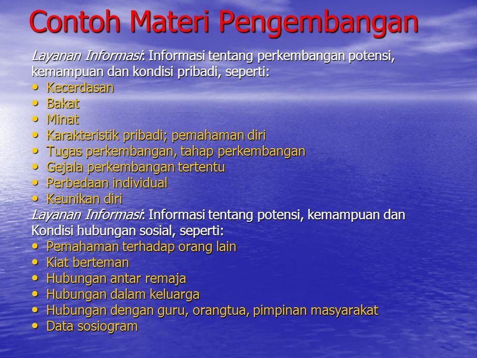 Contoh Materi Pengembangan Layanan Informasi: Informasi tentang perkembangan potensi, kemampuan dan kondisi pribadi, seperti: Kecerdasan Kecerdasan Ba