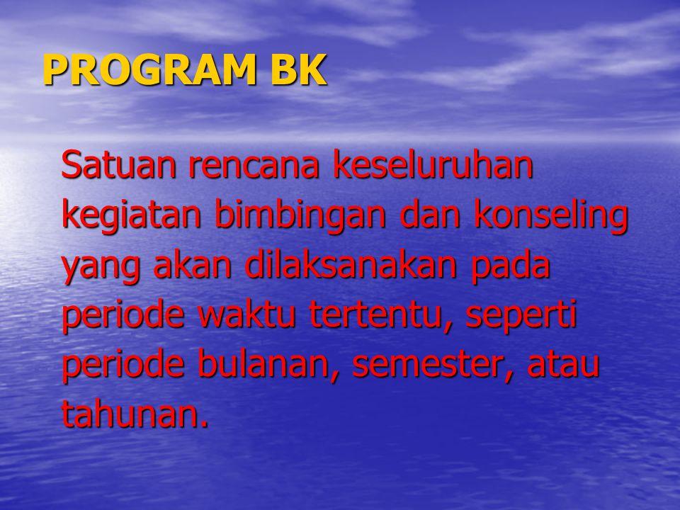 PROGRAM BK Satuan rencana keseluruhan kegiatan bimbingan dan konseling yang akan dilaksanakan pada periode waktu tertentu, seperti periode bulanan, se