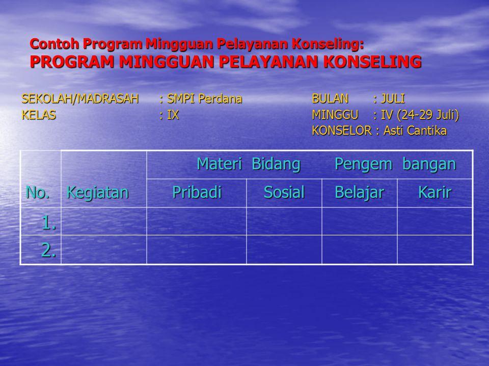 Contoh Program Mingguan Pelayanan Konseling: PROGRAM MINGGUAN PELAYANAN KONSELING SEKOLAH/MADRASAH: SMPI PerdanaBULAN: JULI KELAS: IXMINGGU: IV (24-29